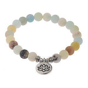Natural 8MM Lotus Stretch Beaded Stone Bracelet